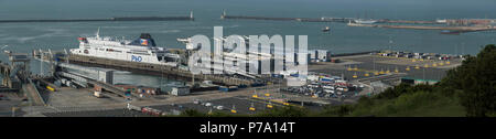Port of Cover photographed from the White Cliffs of Dover. The Port of Dover is the cross-channel port situated in Dover, Kent, south-east England. It - Stock Photo