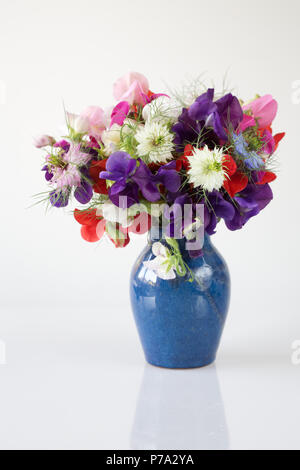Lathyrus odoratus. Sweet pea 'Early Mammoth mixed', 'Antique Fantasy mixed' and Nigella damascena flowers in a vase against a white background. - Stock Photo
