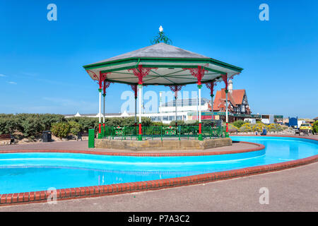 A Victorian wrought iron bandstand on the promenade at St Annes on Sea, Lancashire - Stock Photo