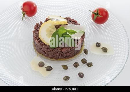 Simple seasoned meat tartare 3 - Stock Photo