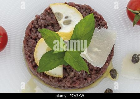 Simple seasoned meat tartare 5 - Stock Photo