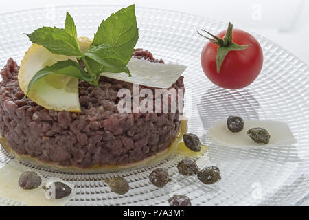Simple seasoned meat tartare 6 - Stock Photo