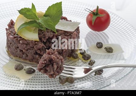 Simple seasoned meat tartare 7 - Stock Photo