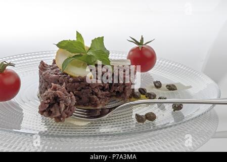 Simple seasoned meat tartare 8 - Stock Photo