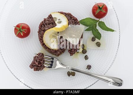 Simple seasoned meat tartare 9 - Stock Photo