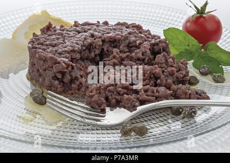 Simple seasoned meat tartare 11 - Stock Photo