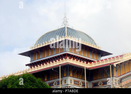 Top of the roof of Schoelcher library, Fort de France, Martinique, Caribbean - Stock Photo