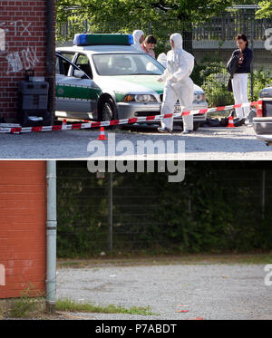 FILED - COMBO - Germany, Heilbronn: The picture below, taken on 13 June 2018, shows the house outside which police officer Michele Kiesewetter, one of the victims of the right-wing terror group 'National Socialist Underground' (NSU), was shot in 2007. The upper picture shows the crime scene on 25 April 2007. Photo: Bernd Weißbrod/Christoph Schmid/dpa - Stock Photo