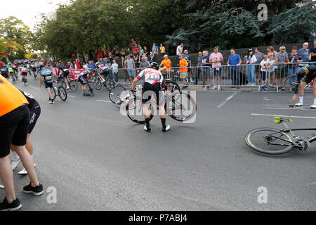 Otley, Leeds, UK. 4th July, 2018. Otley Leeds Wednesday 04 July Mens Elite Cycle Race Crash Credit: Les Wagstaff/Alamy Live News - Stock Photo