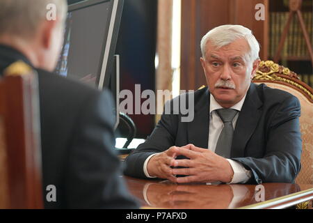 Moscow, Russia. 05th July, 2018. MOSCOW, RUSSIA - JULY 5, 2018: St Petersburg Governor Georgy Poltavchenko during a meeting with Russia's President Vladimir Putin at the Moscow Kremlin. Alexei Druzhinin/Russian Presidential Press and Information Office/TASS Credit: ITAR-TASS News Agency/Alamy Live News - Stock Photo
