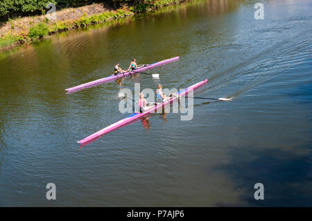 Glasgow, Scotland, UK. 5th July, 2018. UK Weather. Two boats with female rowers in a double scull training on a calm River Clyde on a warm, sunny afternoon. Credit: Skully/Alamy Live News - Stock Photo