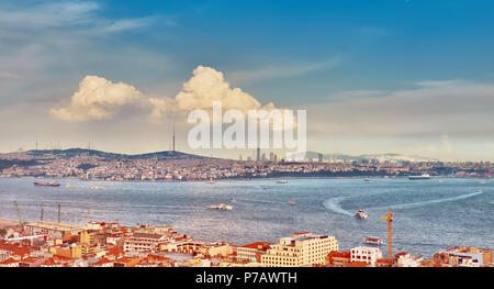 Aerial panoramic view of Golden Horn from Galata tower, Istanbul, Turkey - Stock Photo