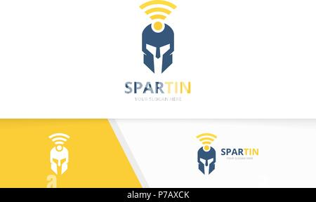 Vector spartan and wifi logo combination. Helmet and signal symbol or icon. Unique warrior and radio logotype design template. - Stock Photo