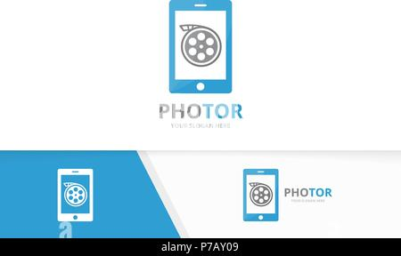 Vector movie and phone logo combination. Cinema and mobile symbol or icon. Unique film and device logotype design template. - Stock Photo