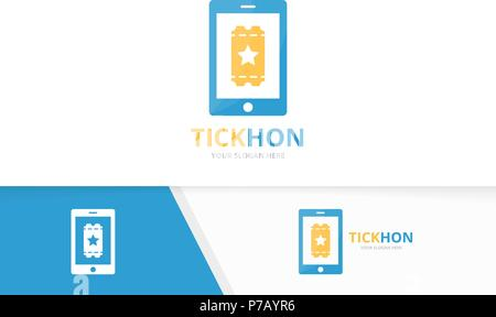 Vector ticket and phone logo combination. Ducket and mobile symbol or icon. Unique card and device logotype design template. - Stock Photo