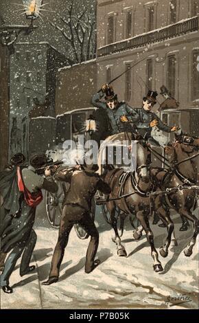 España. Asesinato del general Prim en Madrid el 27 de diciembre de 1870. Grabado de época. - Stock Photo