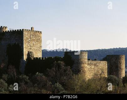Spain. San Martin de Valdeiglesias. Castle of La Coracera. Built in the 15th century and restored between 20th and 21st centuries. Panorama. Community of Madrid. - Stock Photo
