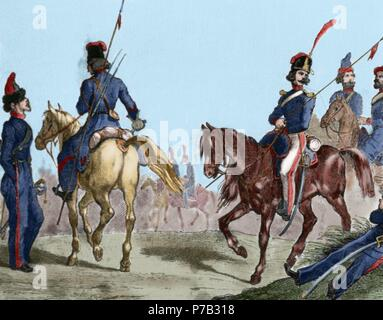 Russian militaries. Cossacks. Engraving. 18th century. Colored. - Stock Photo