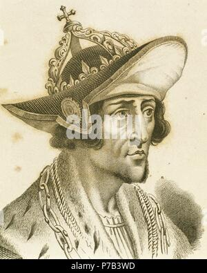 Adolf of Germany (1255-1298). Count of Nassau. King of the Romans. Engraving by Manceau, 1838. - Stock Photo