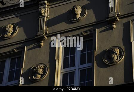 Poland. Gdansk. City centre. Facade decorated with medallions of Roman emperors. Detail. - Stock Photo