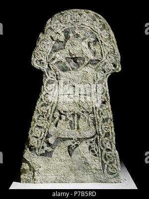 Viking picture stone from Lillbjors Gotland 8th century AD with God Wotan on horse Sleipnir assisted by Valkyrie. Museum: Historisk Museet. - Stock Photo
