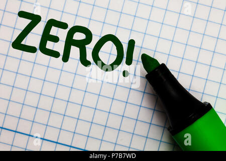 Writing note showing Zero Motivational Call. Business photo showcasing The emptiness nothingness of something no value Graph paper marker pen ideas th - Stock Photo