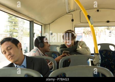 Man sleeping in the bus - Stock Photo