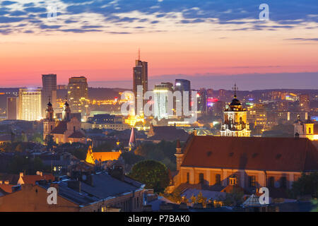 Old town and skyscrapers, Vilnius, Lithuania - Stock Photo