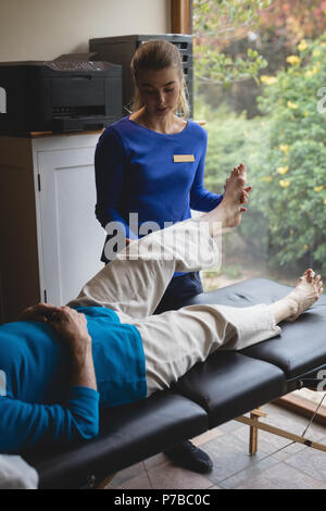 Physiotherapist assisting a senior woman with physiotherapy exercises - Stock Photo