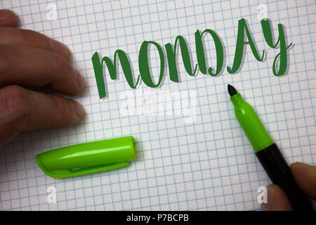 Conceptual hand writing showing Monday. Business photo text First day of the week Back to work Weekend is over Wakeup Early Box background pen cap mar - Stock Photo