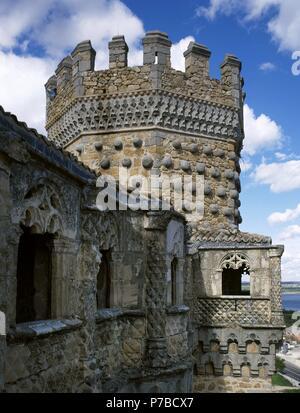 Spain. Manzanares El Real. New Castle of Manzanares el Real. Built in 1475 by Diego Hurtado de Mendoza, son of the Marquis of Santillana. Exterior. Detail. Community of Madrid. - Stock Photo