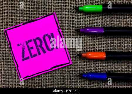 Writing note showing Zero Motivational Call. Business photo showcasing The emptiness nothingness of something no value Marker pens art pink paper nice - Stock Photo
