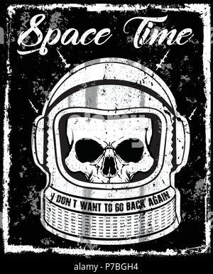 astronaut black and white illustration Skull T shirt Graphic Design - Stock Photo