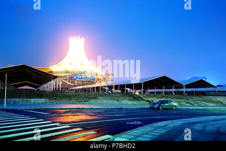 NANNING, CHINA - APRIL 25, 2018: Guangxi International Convention and Exhibition Center in Nanning, Guangxi capital. This is an important place where  - Stock Photo