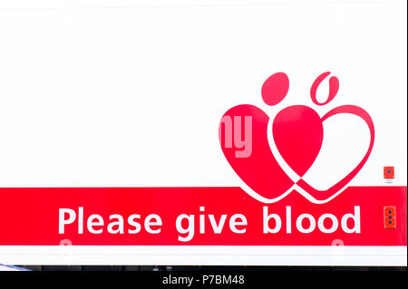 Bury St Edmunds, UK - May 15 2018:  A sign for a national blood donor appeal in the UK - Stock Photo