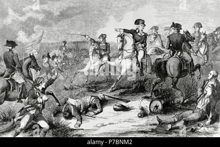 American Revolutionary War (1775-1783). Battle of Monmouth (June 28, 1778). George Washington (1732-1799), commander-in-Chief of the Continental Army, attacking the rear of the British Army led by Henry Clinton (1730-1795). Engraving in Harher's Weekly. 1858. commanding the troop in the Battle of Monmouth (1778). Engraving. 19th century. - Stock Photo