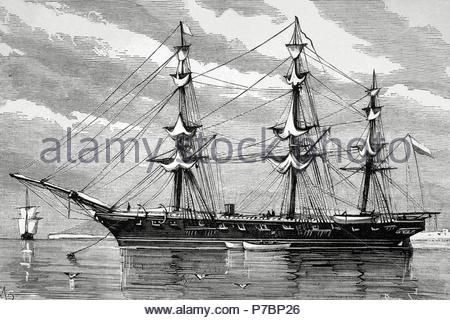 War of the Pacific (1879-1883). Western South America with Bolivia and Peru in front of Chile as a belligerants. Chilean corvette 'Esmeralda' Engraving by Capuz. La Ilustracio n Espan ola y Americana, 1879. - Stock Photo