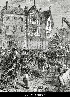 American Revolutionary War (1775-1783). Boston. Citizens hostile with the British soldiers. Engraving. 19th century. - Stock Photo