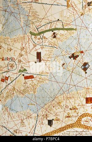 The Catalan Atlas, 1375. Attributed to the Majorcan Jewish cartographers Abraham and Jehuda Cresques, was service of King of Aragon. National Library of France, Paris.