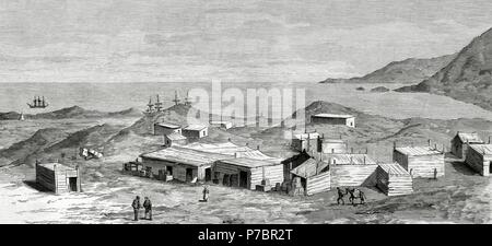 War of the Pacific (1879-1883). Western South America with Bolivia and Peru in front of Chile as a belligerant. Iquique. Lepanto camp established by the Spanish merchants on the outskirts of the town. Engraving by Batlle. - Stock Photo