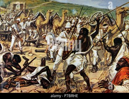 First Italo-Ethiopian War. Conflict between Italy and Ethiopia, 1895-1896. The army of Ras Makonnen(1852-1906) fighting Italian troops during the siege of Mekele, 1896. Drawing by Walter Molino (1915-1997). La Domenica del Corriere. - Stock Photo