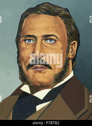 Chester Alan Arthur (1829-1886). 21st President of United States. Watercolor. - Stock Photo
