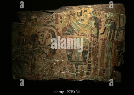 The creation by the Egyptians. Fragment of coffin painted in different colors. Type Deir el-Bahari. The sky Goddess Nut leans over the earth Geb. Between them, their father Shu keeps separated. The Sun God travels by boat above the back of Nut. 21st-22th Dynasties (1081-725 BC). Third Intermediate Period. Wood. Museum of Mediterranean and Near Eastern Antiquities. Stockholm. Sweden. - Stock Photo