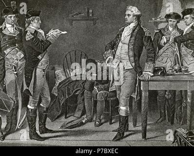 John Andre (1750-1780). British Army officer. Executed as spy by the Continental Army during the American Revolutionary War for its collaboration with Benedict Arnold's (1741-1801) conspiracy. The death warrant of Major Andre for treason in 1780. Engraving. 19th century. - Stock Photo