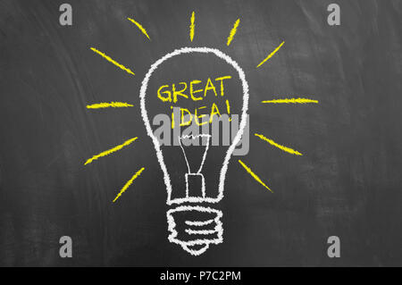 Great idea light bulb chalk drawing and text on chalkboard or blackboard as creativity innovation new invention concept - Stock Photo