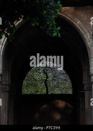 Famous Sidi Saiyyed mosque jali - stone latticework windows in Ahmedabad - heritage city of Gujarat, India with tree branches adding to the frame - Stock Photo