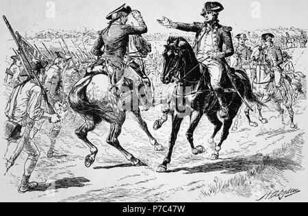American Revolutionary War (1775-1783). Charles Lee (1732-1782), General of the Continental Army and George Washington (1732-1799), commander-in-Chief of the Continental Army. Lee and Washington into direct confrontation during the Battle of Monmouth (1778). Engraving by H. A. Ogden. The American Revolution. - Stock Photo