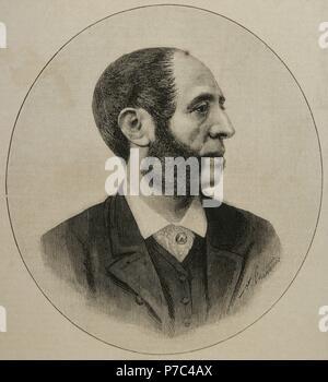 Arturo Melida Alinari (1849-1902). Spanish architect, sculptor, painter and military. Portrait. Engraving by A. Carter. La Ilustracio_n Espan_ola y Americana, 1889. - Stock Photo