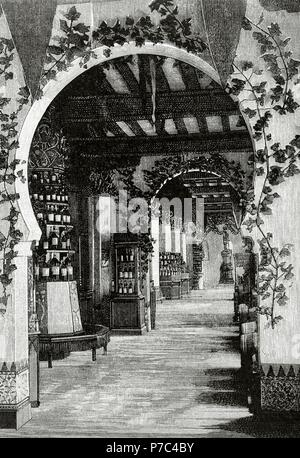 Arturo Melida Alinari (1849-1902). Spanish architect and painter. Engraving by Rico depicting the main floor and the pantry of the Pavilion of Spain, Paris. The Spanish and American Illustration, 1889. - Stock Photo