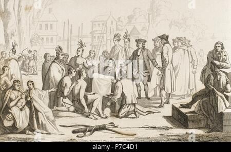 William Penn (1644-1718). Colonizer and English Quaker. Founder of the Province of Pennsylvania (1682), established a lasting peace with the Indians. Engraving.